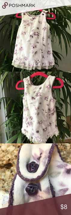 Velvet flower dress. White with purple flowers This dress is just darling on, great as a summer dress or layered with a long sleeve shirt for colder days. In good used condition with a few light stains on the front (pictured). Please ask me questions. I 💗 budles🛍 Koala Baby Dresses