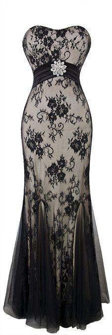 Angel-fashions Women's Strapless Crystal Floral Mesh Draped Sweep Sheath Dress Medium Black