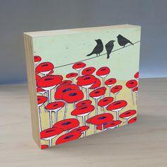 Artist Shanni Welsh's Black Birds and Poppy art panel. Crow and Poppy print. Black Bird wall art. Black Bird painting. Red Poppy. Red Poppy print. Crow home décor.