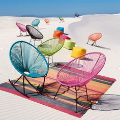 Copacabana chair - an affordable copy of the Acapulco chair Deck Chairs, Garden Chairs, Garden Furniture, Acapulco Chair, Green Armchair, Creature Comforts, Colorful Garden, Take A Seat, Trendy Home
