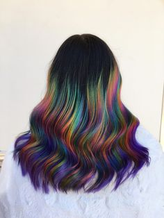 that halo prism ! ❤️💛💚💙💜🖤 here is another pic of my halo prism debut 😍 inspired by the work of Purple Hair, Ombre Hair, Aesthetic Hair, Bright Hair, Cool Hair Color, Oil Slick Hair Color, Gorgeous Hair, Hair Looks, Pretty Hairstyles