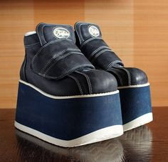 Reserved///   BUFFALO Tower blue white Platform Rave Club Kid