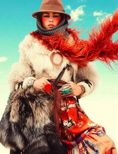 Nomadic Couture Spreads - The Liu Wen Vogue Spain Spread Dresses Up in Tribal Elegance (GALLERY)