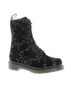 Dr Martens Reinvented Avery Printed Black Velvet 10-Eye Boots
