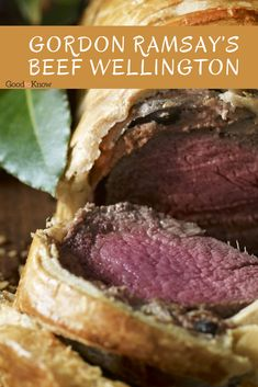 Gordon Ramsay's beef Wellington recipe looks so impressive but takes just 20 minutes to prepare, made with beef fillet, mushrooms and readymade pastry. Best Beef Wellington Recipe, Easy Beef Wellington, Wellington Food, Savoury Dishes, Food Dishes, Food Food, Gordon Ramsey Beef Wellington, Beef Recipes, Cooking Recipes