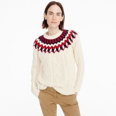 J.Crew Cableknit Sweater With Fair Isle ($160) ❤ liked on Polyvore featuring tops, sweaters, long cable knit sweater, cable sweaters, white cable knit sweaters, chunky cable knit sweater and loose fitting sweaters