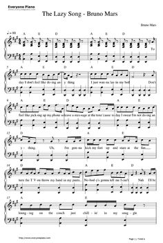 Free The Lazy Song-Bruno Mars Sheet Music Preview 1