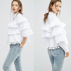 FLEUR RUFFLE BLOUSE - Made to Order - Women Ruffle blouse Women Trending Clothes Fashion White Shirt Minimalism