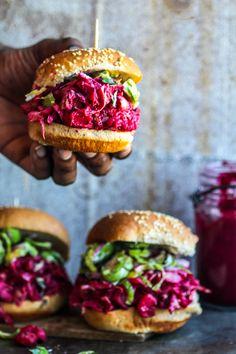 pulled jackfruit sandwiches with beet BBQ sauce #vegan