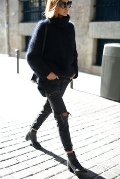 fuzzy turtleneck, ripped jeans & boots #style #fashion