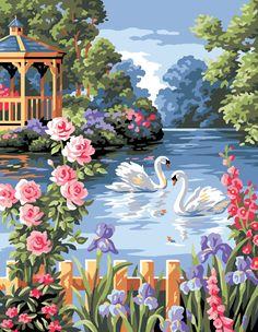Swans and Flowers Tapestry Canvas _ sewandso pieces) Landscape Art, Landscape Paintings, Watercolor Paintings, Beautiful Nature Wallpaper, Beautiful Birds, Colorful Paintings, Beautiful Paintings, Scenary Paintings, Graffiti Kunst