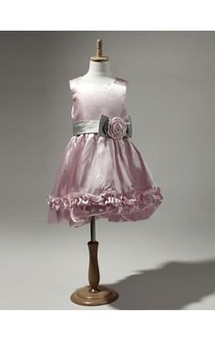 Satin And Tulle Sleeveless Flower Girl Dress With Bow