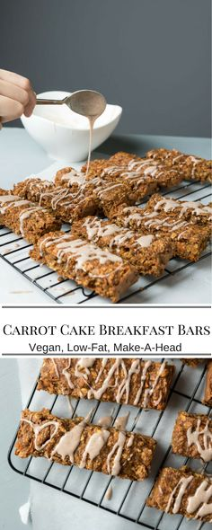 Healthy Snacks For Kids Carrot Cake Breakfast Bars. Make these ahead and stash in the freezer for a quick and healthy breakfast on the go. Oats, Carrots and peanut butter. Breakfast And Brunch, Breakfast Cookies, Best Breakfast, Breakfast Healthy, Vegan On The Go Breakfast, Healthy Breakfasts, Brunch Bar, Frozen Breakfast, Vegan Breakfast Muffins