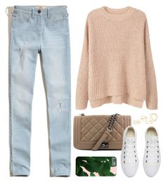 """OOTD - Pink Sweater"" by by-jwp ❤ liked on Polyvore featuring MANGO, Hollister Co., Steve Madden and Converse"