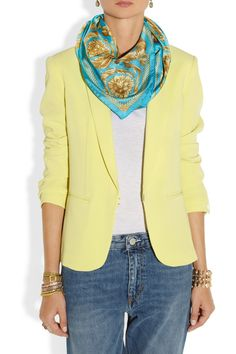 Versace|Printed silk-twill scarf|NET-A-PORTER.COM