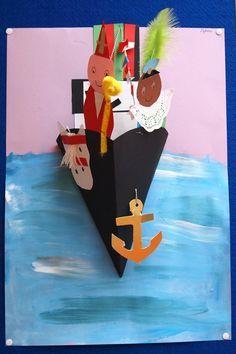 De boot van Sinterklaas een beetje 3D. Op het pinterstbord Tekenlesidee Sinterklaas staat een pin met een mal voor de boot.