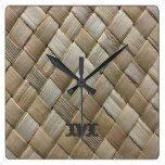 Monogram Series: Dark Rustic Seagrass Weave Square Wall Clock  #Clock #Dark #Monogram #Rustic #RusticClock #Seagrass #Series #Square #Wall #Weave The Rustic Clock