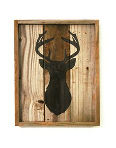 Deer Silhouette Sign Reclaimed Wood Wedding by thesummeryumbrella, $40.00