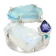 Moonstone & Aquamarine Rough Multi-Gemstone Sterling Silver Ring