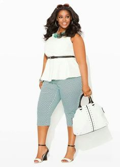 Ashley Stewart Pluz size fashion. Get inexpensive trendy great quality clothing items today! SPRING & SUMMER FASHION TRENDS 2017  gingham cropped pants, sleeveless belted shirt
