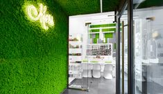 Moss and Concrete Define This Salon in Krakow - Azure Magazine Hair Salon Interior, Salon Interior Design, Moss Decor, Moss Wall, Krakow Poland, Hospitality Design, Office Interiors, Retail Design, Salons