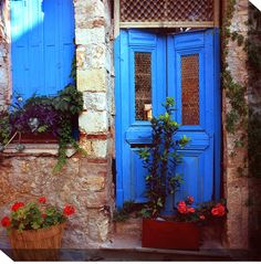 Decorate your favorite space with the West of the Wind Mediterranean Door Outdoor Canvas Art - 24 x 24 in. and its Mediterranean blue. This canvas is. Mediterranean Doors, Weather Art, Front Door Colors, Front Doors, Front Entry, Entry Doors, Front Porch, Entrance, Free Art Prints