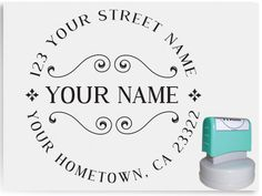 Custom Pre Inked Address Stamp - Simple Retro Syle - Personalized Stamp - AA34.   Need to get one