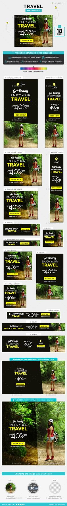 Travel Ad Banners — PSD Template #banner set #banner pack • Download ➝ https://graphicriver.net/item/travel-ad-banners/19086549?ref=pxcr