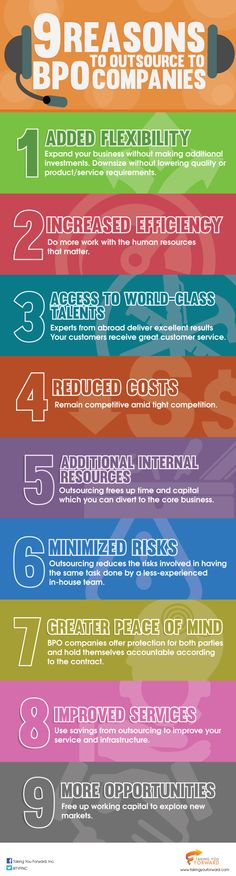 Infographic: 9 Reasons to Outsource to BPO Companies Flexibility, Competition, Infographic, Learning, Business, Life, Color, Infographics, Back Walkover