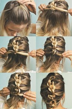 Quick and Simple Updo Hairstyles for Medium Hair The Knot Hawk. Or a knotted french braid. Hight five for a messy updo for medium length hairThe Knot Hawk. Or a knotted french braid. Hight five for a messy updo for medium length hair Easy Updos For Medium Hair, Medium Long Hair, Medium Hair Styles, Curly Hair Styles, Braids For Medium Length Hair, Mid Length Hair, Shoulder Length Hair, Easy Updo Hairstyles, Straight Hairstyles
