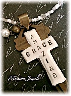 Amazing Grace - my favorite hymn. Made of polymer clay. Polymer Clay Necklace, Polymer Clay Pendant, Polymer Clay Charms, Clay Cross, Play Clay, Beaded Cross, Clay Ornaments, Vintage Keys, Clay Design