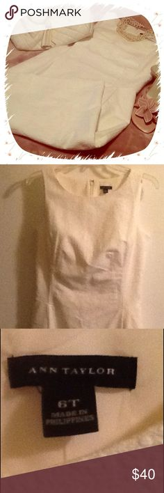 "🍦 NWT ANN TAYLOR Winter White Textured Sheath 🍦 New with tag ($139) fully lined, sleeveless sheath in winter white is the perfect day into evening dress.  Gorgeous texture, like jacquard.  Wear with satin trench in my closet !!!  Jewel neckline, invisible back zipper.  Princess seams, bust darts. Length 40"". 🍦 Ann Taylor Dresses"