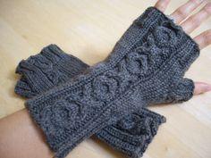 hand-knit wrist warmers, fingerless gloves