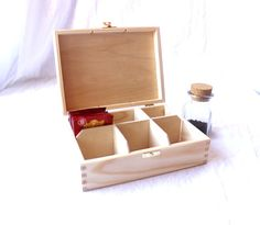 Wooden tea box / 6 compartments box / tea treasury / by NeliStudio