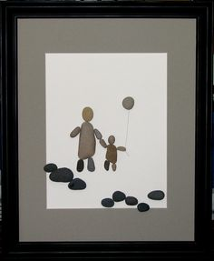 """Walking Together"" 16"" x 20"" $  Created using pebbles collected from the shores of Lake Michigan"