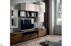Parete soggiorno classica moderna in legno massello   Soggiorni ...
