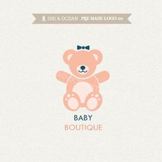 Boutique premade logo design for your business - cute logo, sweet TEDDY BEAR, in any colour of your choice