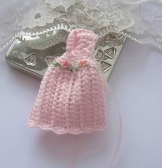 dollhouse knitted baby cape cloak pink by Rainbowminiatures