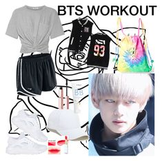"""""""BTS army workouts"""" by lauralydix ❤ liked on Polyvore featuring NIKE, T By Alexander Wang, Colortone, Sole Society, Ziaja and Too Faced Cosmetics"""
