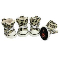 Aus der Kategorie Pfotenschutz  gibt es, zum Preis von EUR 8,58  4 Stücke Antirutsch Leopard Welpe Haustier Hundschuhe Schutzschuhe Size 1 de<br/><br/> - Produktname: Hund Schuhe; Größe: 1<br/> - Alleinige Größe: 43 x 36m / 1.7<br/> - Fit Pfote Größe: 35 x 27mm / 1.4<br/> - Hauptfarbe: Schwarz, Khaki, weiss; Netto Gewicht: 50g<br/> - Lieferumfang: 4 x Hund Schuhe<br/>