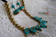 AQUA BLUE & GOLD  - Handmade terracotta Clay necklace/earring  -Indian Jewelry