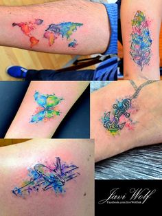 Mini Watercolor Tattoos. Tattooed by @javiwolfink www.facebook.com/javiwolfink