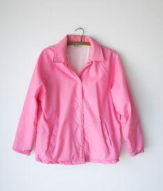 Pink Lady Jacket / Vintage Nylon Windbreaker Coat / Women's Medium Outerwear