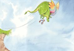 Paula Bowles Illustration - paula, paula bowles, bowles, paint, painted, watercolour, traditional, commercial, picture book, picturebook, dragons,  creatures, monsters, cycling, flying