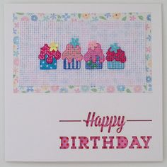 Cupcakes cross stitch card handmade with the wording 'Happy Birthday' by PosieAndMarmalades on Etsy