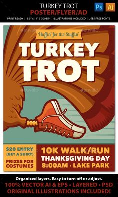 TURKEY TROT Walk / Run Event Poster, Flyer or Ad. Advertise your Turkey Trot walk / run with this fun, colorful vintage-look poster! File comes with all the elements you need to create accompanying print pieces such as postcards, ads, invitations, brochures, announcements, banners, and web graphics.