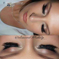 "Flawless by @alisacoroimakeup ""@motivescosmetics eyebase, light loose powder, contour kit, black mascara"""