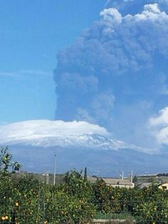 Eruption happen at Etna Volcano in Sicily.  They closed the airport in Catania due to the ash.  The next day there were just plumes.