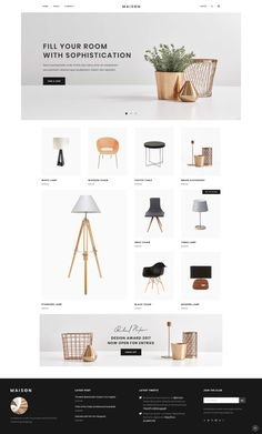 Maison WordPress theme comes with flexible options and is compatible with WooCommerce plugin so you can sell your products online. Interior Design Website, Website Design Layout, Web Layout, Decor Interior Design, Layout Design, Color Interior, Nordic Interior, Cafe Interior, Interior Styling