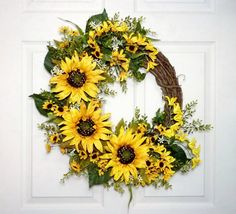 Sunflowers Delight Wreath Summer Wreath Fall Wreath by Floralwoods, $58.00